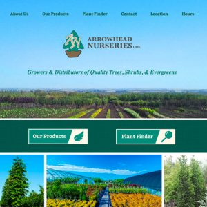 Arrowhead Nurseries - Freelance Website Design in Edmonton, Alberta