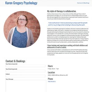 Karen Gregory Psychology - Freelance Website Design in Edmonton, Alberta